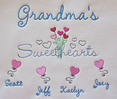 Grandma's sweethearts embroidered tee shirt