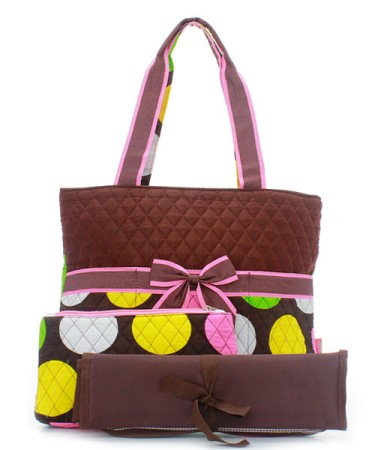Brown with large polka dots quilted diaper bag