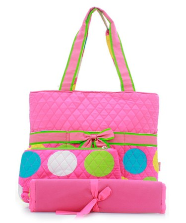 Pink with large polka dots quilted diaper bag