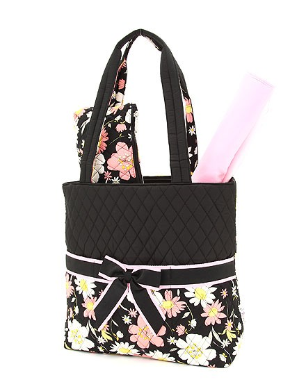 Cute floral design quilted 3 piece diaper bag - black with pink
