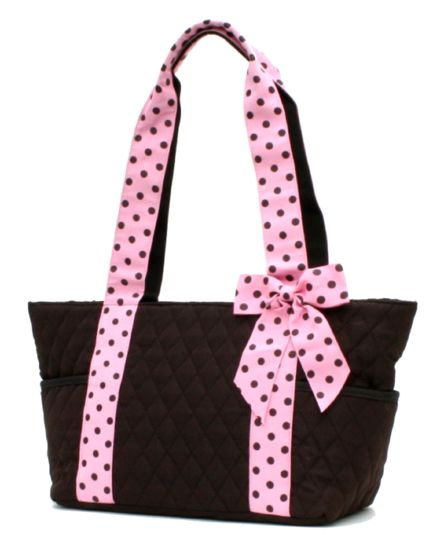 Polka dot tote quilted bucket tote