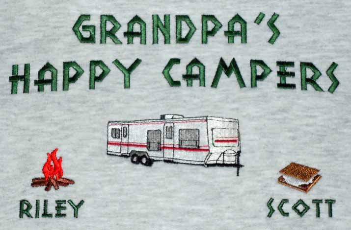 Grandpa's happy campers sweatshirt-ball and hitch RV