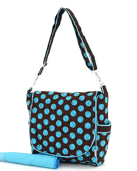 Quilted cotton brown with turquoise polka dot diaper bag with shoulder strap