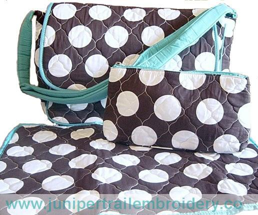 Messenger style personalized diaper bag-blue and brown