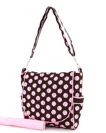 Monogrammed diaper bag-shoulder strap with pink polka dots