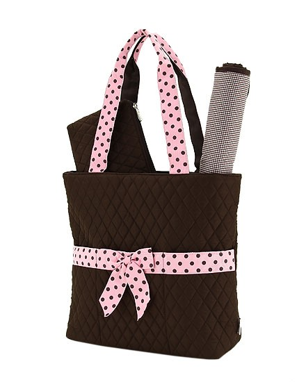 3 piece quilted diaper bag-brown with pink polka dots
