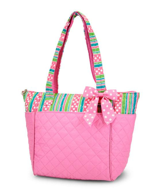 Pink Quilted Tote Bag