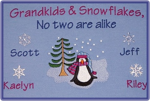 Grandkids and snowflakes embroidered sweatshirt