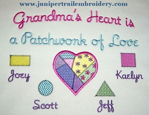 Grandma's Heart is Patchwork of love tee shirt-quilting