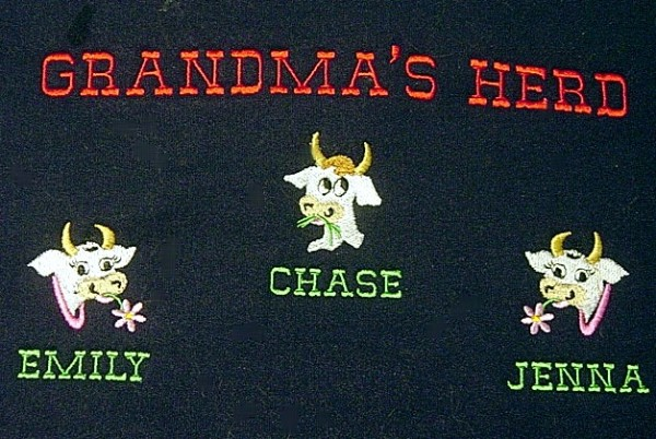 Grandpa's herd embroidered tee shirt with cows
