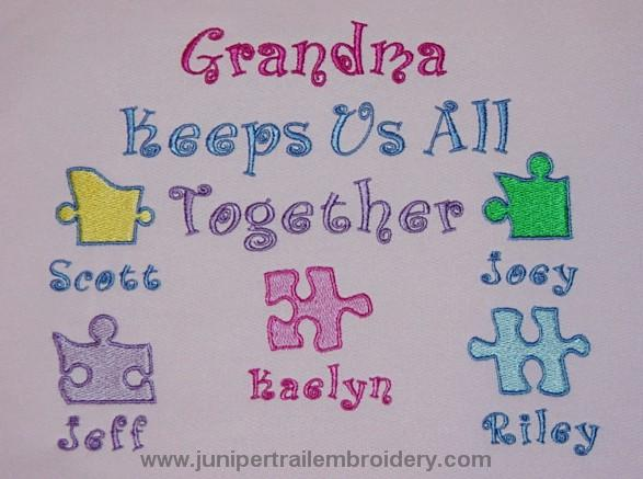 Grandma keeps us all together sweatshirt-puzzle design