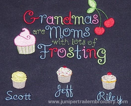 Grandma's are Moms with frosting embroidered tee shirt-Cupcake