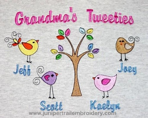 Grandma's Tweeties embroidered sweatshirt-birds