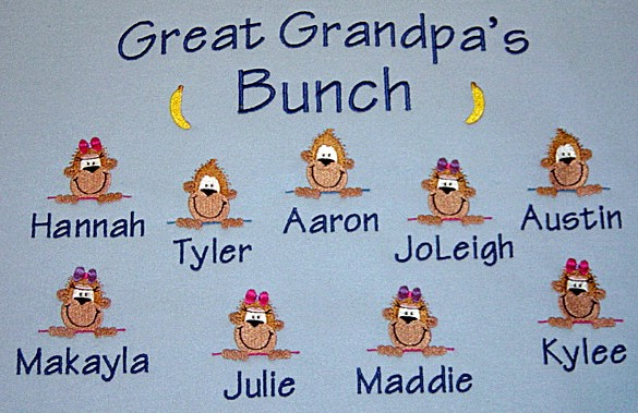 Grandpa's bunch sweatshirt-cute monkeys-personalized
