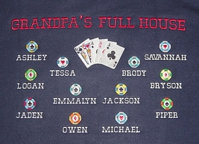 Grandpa's Full House personalized sweatshirt-card game