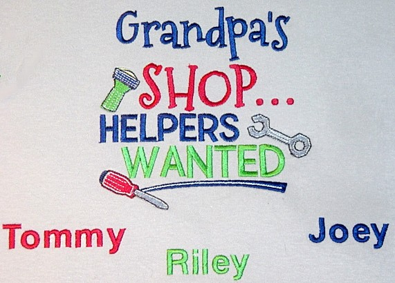 Grandpa's shop tee shirt-personalized