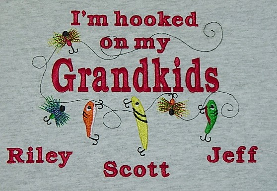 Hooked on My Grandkids sweatshirt-Fishing design