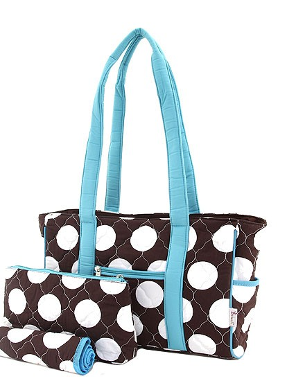 Brown with white polka dots and blue trim messenger bag
