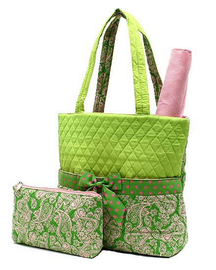 Lime and pink paisley and polka dot 3 piece diaper bag