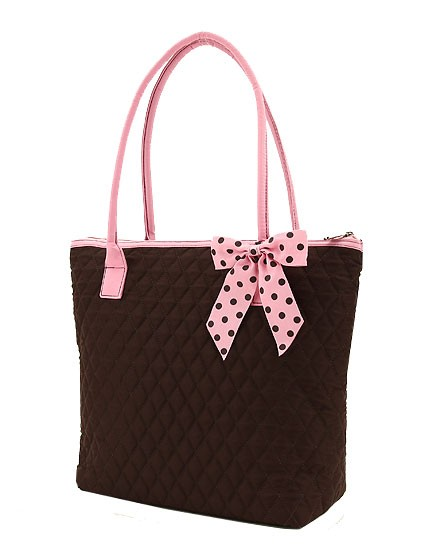 Medium size brown with pink accents tote bag-quilted personalized