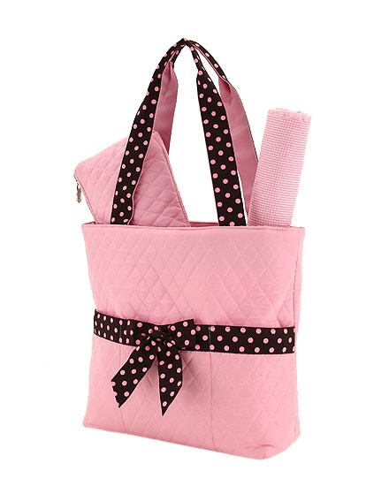 Pink quilted diaper bag-3 pieces-personalized