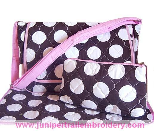 Messenger style diaper bag-brown and pink
