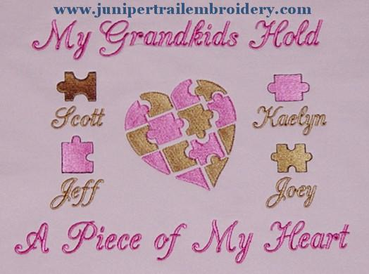Grandkids hold my heart sweatshirt- puzzle design