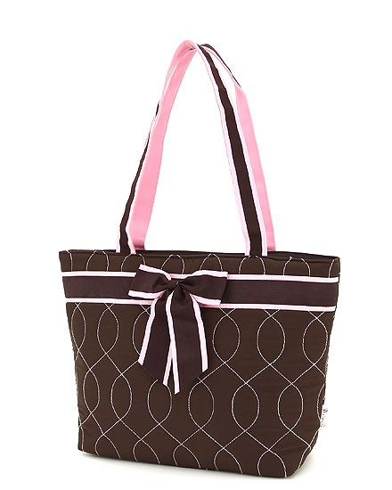 Quilted wave stitch tote bag-brown with pink accents-personalized