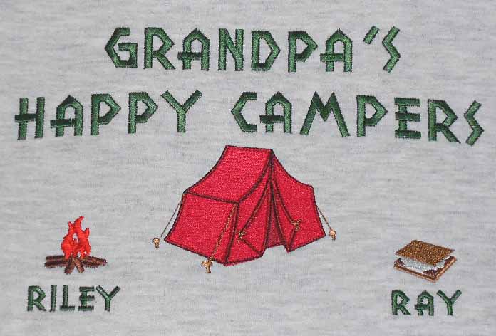 Grandpa's happy campers sweatshirt-tent design