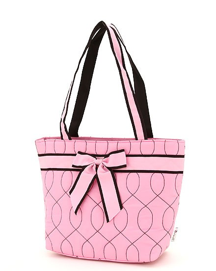 Wave stitched quilted tote bag-small-pink with brown accents