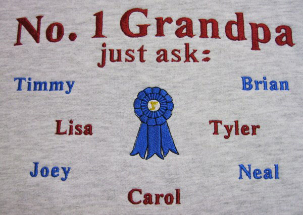 Number 1 grandpa embroidered sweatshirt