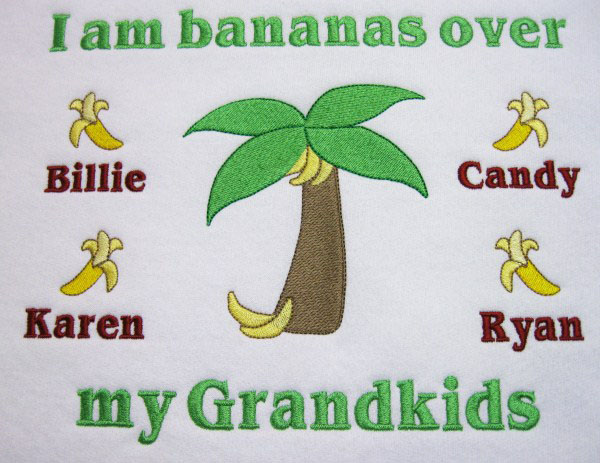Bananas over my grandkids embroidered tee shirt