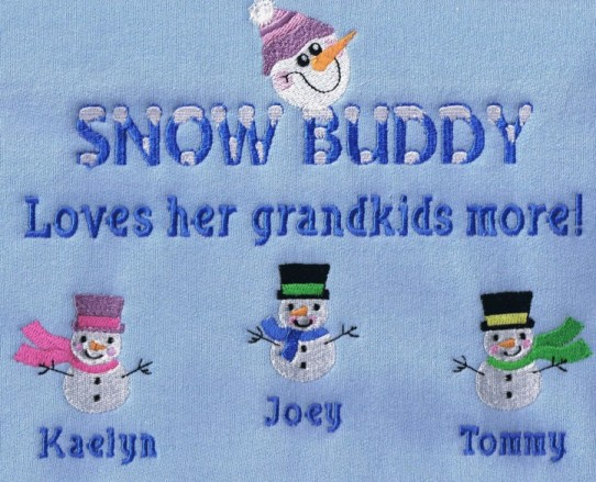 Snow buddy grandparent sweatshirt-cute snowmen