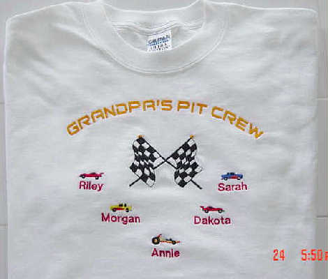 Grandpa's Pit Crew Tee shirt- Racing design