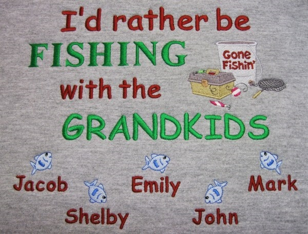I'd rather be fishing with the grandkids embroidered sweatshirt