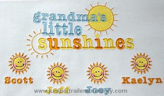 Grandma's Little sunshines embroidered tee shirt
