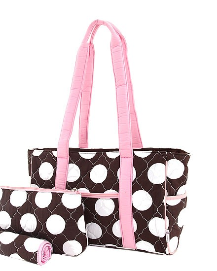 Quilted cotton diaper bag-large polka dot -pink trim