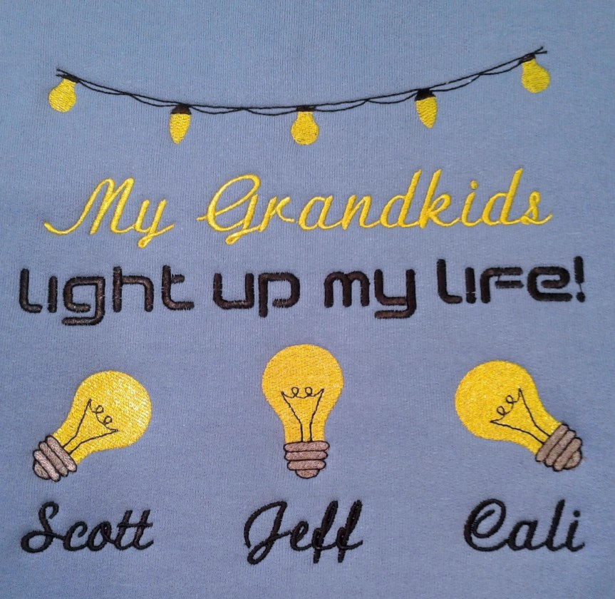 Cute grandkids light up life with bulbs embroidered sweatshirt