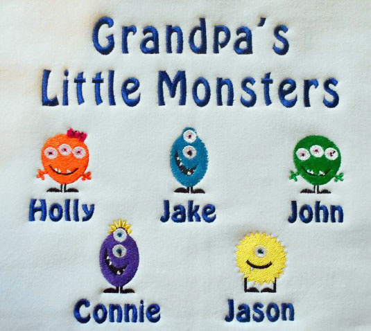 Grandpa's little monsters embroidered sweatshirt