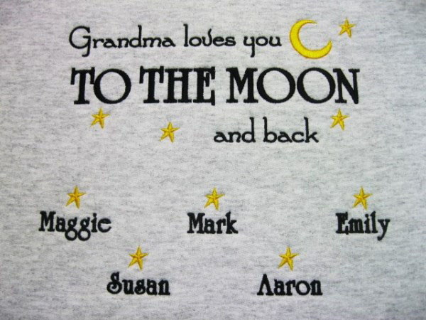 Grandma loves you to the moon embroidered sweatshirt