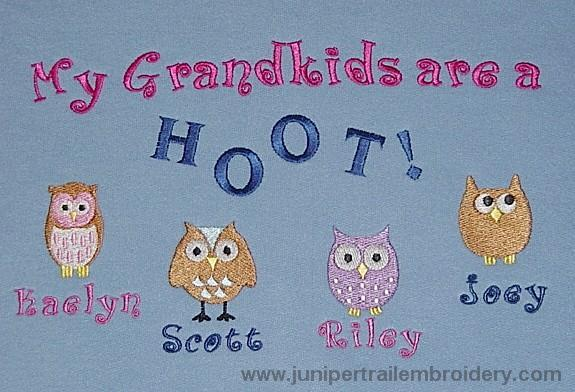 My Grandkids are a hoot tee shirt-Cute owl design