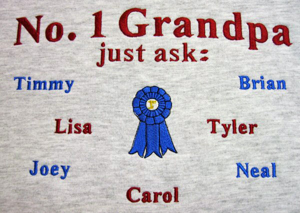 Number 1 grandpa embroidered tee shirt