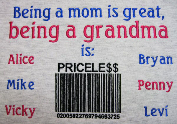 Being a grandma is priceless embroidered cotton tee shirt