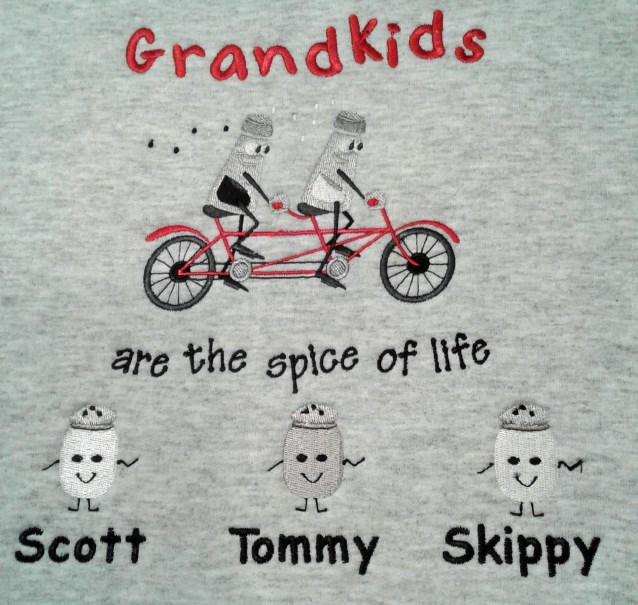 Grandkids are spice of life embroidered tee shirt