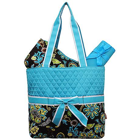 Turquoise and paisley quilted diaper bag-monogrammed