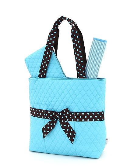 Turquoise quilted diaper bag-3 piece-personalized